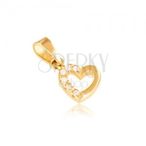 Prívesok v žltom 14K zlate - kontúra súmerného srdca, zirkóny