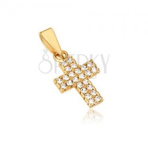 Prívesok zo zlata 14K - malý latinský kríž, široké ramená, zirkóny