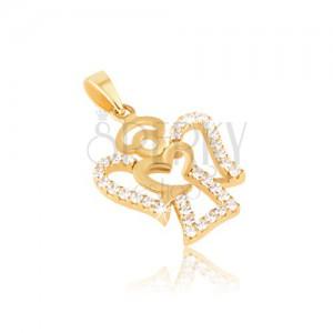 Prívesok zo žltého zlata 14K - kontúra anjela, číre okrúhle zirkóny