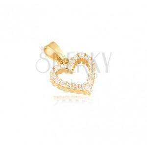 Zlatý prívesok 585 - kontúra pravidelného srdca, zirkóny