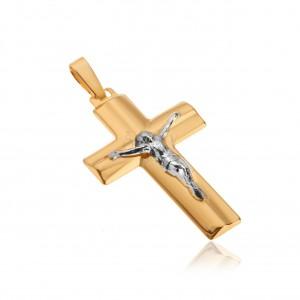 Prívesok v žltom 14K zlate - Kristus na kríži, široké skosené ramená