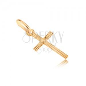 Zlatý prívesok 585 - malý latinský kríž, lúčovito smerujúce ryhy