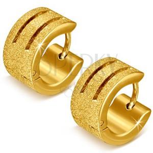 Pieskované náušnice z ocele zlatej farby s ryhami - okrúhle