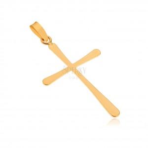 Prívesok zo zlata 14K - lesklý plochý latinský kríž, hladký povrch