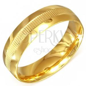 Prsteň zlatej farby z chirurgickej ocele s vrúbkovaným pásom