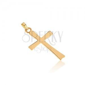 Zlatý 14K prívesok - plochý zrkadlovolesklý latinský kríž, hladký