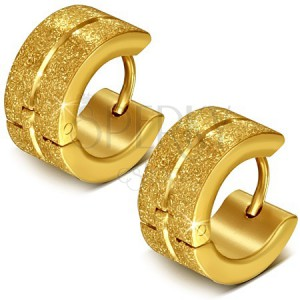 Okrúhle oceľové náušnice, zlaté, pieskované, stredová ryha