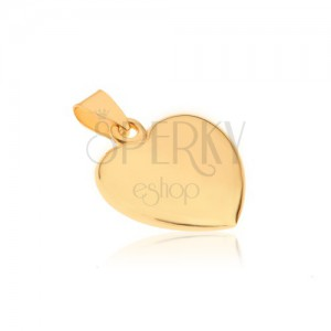 Ligotavý zlatý prívesok 585 - mierne vypuklé pravidelné srdiečko