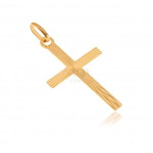 Prívesok zo žltého 14K zlata - latinský kríž, lesklé lúčovité ryhovanie
