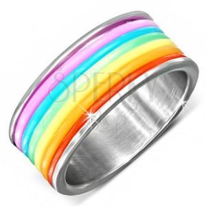 Oceľový prsteň s farebnými gumenými prúžkami