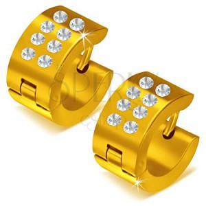Lesklé okrúhle oceľové náušnice zlatej farby, číre kamienky