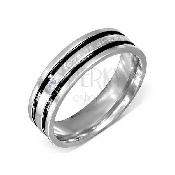 Oceľový prsteň s vyznaním lásky, číry zirkón, čierne ryhy