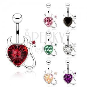 Oceľový piercing do bruška, zirkónové srdce, čertík - rôzne farby