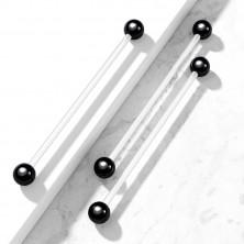 Flexibilný piercing - priehľadná činka s lesklými čiernymi guličkami
