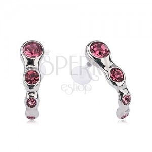 Piercing do tragusu, oceľový, ružové kamienky