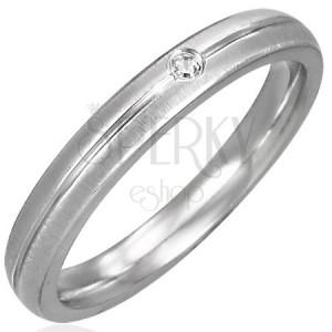 Saténový prsteň z chirurgickej ocele, číry zirkón, lesklý pás