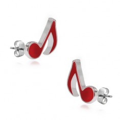 Šperky eshop - Náušnice zo striebra 925 - červené noty R14.12