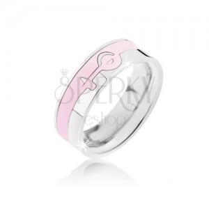 Prsteň strieborno-ružovej farby z ocele - ženský symbol