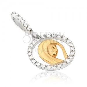 Zlatý prívesok 585 - obrys medailónu so zirkónmi, hlava ženy, dvojfarebný