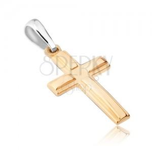 Prívesok zo zlata 14K - dvojitý latinský kríž, vystupujúce lesklé ramená