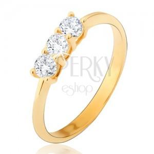 Prsteň zo žltého 14K zlata - tri okrúhle číre zirkóny, lesklý, hladký