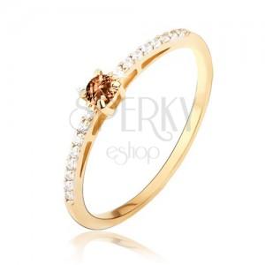 Zlatý prsteň 585 - lesklý, hladký, drobné číre zirkóny, kameň záhneda