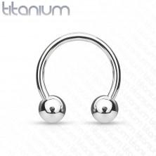 Titánový piercing - podkova s guličkami