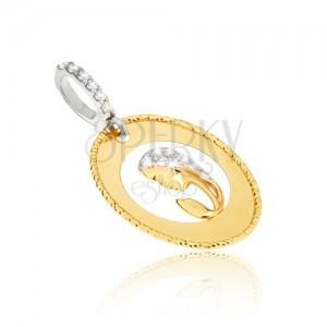 Prívesok v žltom 14K zlate - oválny medailón, výrez, hlava ženy, zirkóny