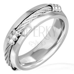 Prsteň z ocele s keltským lanom a zníženými okrajmi