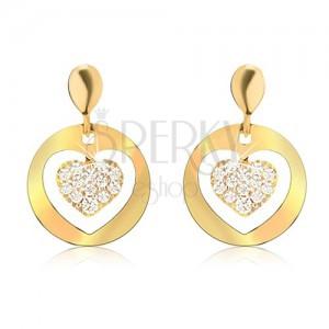 Zlaté náušnice 585, okrúhle ploché kruhy s výrezom, zirkónové srdce