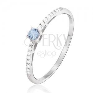 Prsteň z bieleho 14K zlata - lesklý, drobné číre zirkóny, kameň modrý topás