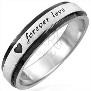 Oceľový prsteň s čiernymi krajmi, Forever Love