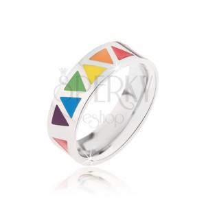 Lesklý oceľový prsteň s farebnými trojuholníkmi