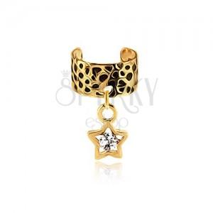 Kovový krúžok na ucho, čierno-zlatá farba, obrys hviezdy, zirkón