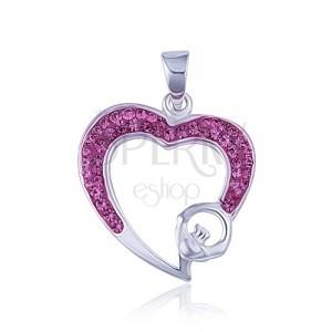 Ružový zirkónový obrys srdca - prívesok zo striebra 925