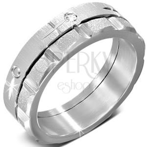Prsteň z ocele - točiaci sa zdobený saténový a pieskovaný pás