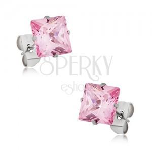 Puzetové náušnice z ocele, ružový štvorcový zirkón - rôzne veľkosti