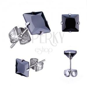 Puzetové náušnice z ocele, čierny štvorcový zirkón - rôzne veľkosti