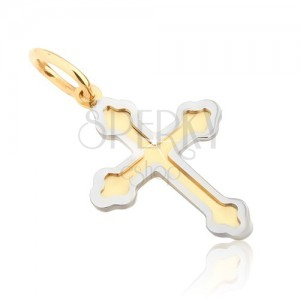 Prívesok zo zlata 14K - dvojfarebný jetelový kríž, dvojitý