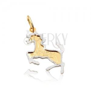 Zlatý dvojfarebný prívesok 585 - kôň postavený na zadných nohách, gravírovaný