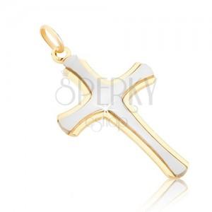 Prívesok zo zlata 14K - matný latinský kríž v bielom zlate, lesklé okraje