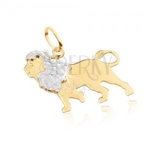 Zlatý prívesok 585 - plochý lesklý kráčajúci lev, dvojfarebný, gravírovaný