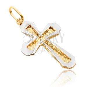 Prívesok zo zlata 14K - dvojfarebný, plochý kríž s gravírovaním, lesklý obrys