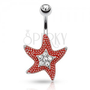 Oceľový piercing do pupka s čírym kamienkom, červená hviezdica