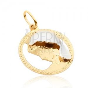 Zlatý prívesok 585 - okrúhly zdobený rámček, Madona, zlato-biela kombinácia