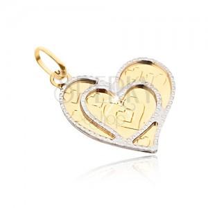 Prívesok v žltom 14K zlate - nepravidelné ploché srdce, ozdobné obrysy