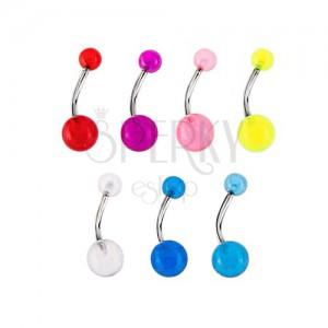 Piercing do brucha so svietiacimi guličkami - rôzne farby