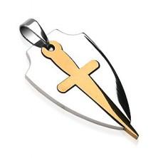 Prívesok z chirurgickej ocele v dvoch farbách - štít a meč