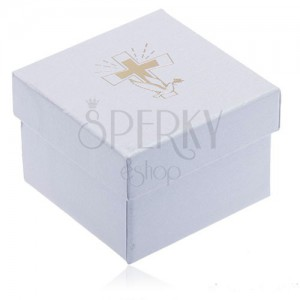 Biela krabička na šperk - kríž a holubica zlatej farby