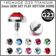 Šperky eshop - Náhradný diel do implantátu so zirkónom C18.20 - Farba zirkónu: Aqua modrá - Q